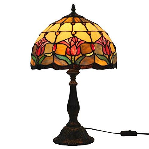 FABAKIRA Lámpara de Mesa 12 Pulgadas Estilo de Tiffany Europea Vintage Pastoral Tulipán Vidrio Retro Lámpara de Mesita Dormitorio