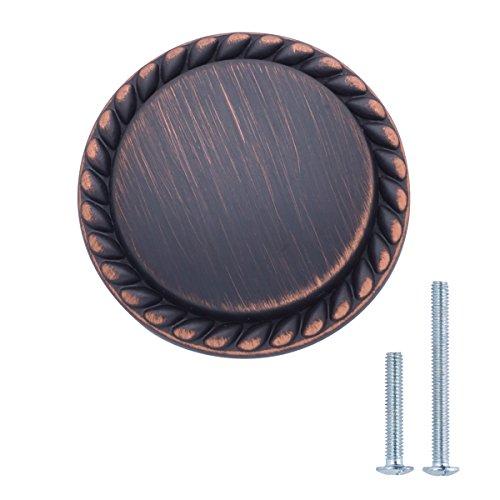 AmazonBasics - Schubladenknopf, Möbelgriff, gemusterter Rand, rund, Durchmesser: 3,17 cm, Geöltes Bronze, 10er-Pack