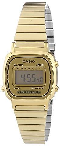 Casio Collection - Damen-Armbanduhr mit Digital-Display und Edelstahlarmband - LA670WEGA-9EF