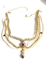 XLDreams American Diamond and Pearl waist chain/kamarband/belly chain/waist belt