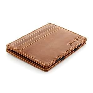 Jaimie Jacobs Magic Wallet Flap Boy Slim für Herren im Vintage Look aus Echtem Italienischem Leder (Cognac-Braun)