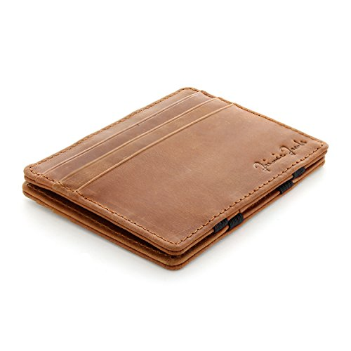 Jaimie Jacobs Magic Wallet Flap Boy Slim – the Original – for Men Genuine Leather (Vintage Cognac)