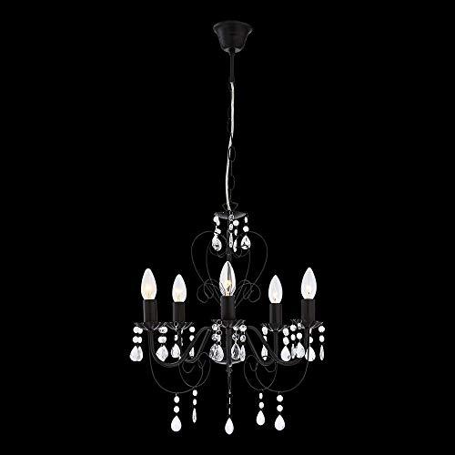 Kronleuchter 5-flammig Pinja Farbe (Halterung): Schwarz