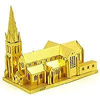 XINGYAN Modelo De Metal 3D, Bricolaje Ensamble De Modelos De Construcción para Adultos Colección Soporte De Exhibición De Rompecabezas De Corte Láser - Christchurch,Gold