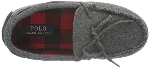 Ralph Lauren Rustle Moc, Chaussons garçon Gris - Grau (Grey Wool W Buffalo plaid)