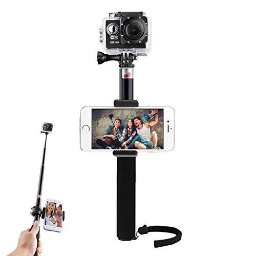 Selfie Bastone Portatile Selfie Stick 2 in 1 per Action Camera Cellulari Supporto Regolabile Telescopica Pole Monopiede per Gopro Hero 5 4, Eroe + LCD, 3+ 3, 2, 1, SJ4000 e SJ5000 Telecamere, Nero