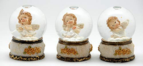 23017683x 3er Set süße Mini-Schneekugeln Engel auf Nostalgie-Rosen Sockel Durchmesser 45mm mit Luftblase