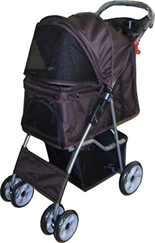 vivo-brown-dog-puppy-cat-pet-travel-stroller-pushchair-pram-jogger-buggy-with-two-front-swivel-wheel