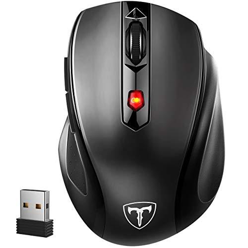 VicTsing Mouse Wireless 2400DPI, Mouse Senza Fili 2.4G con Ricevitore Nano, 24 Mesi di Batteria Durata, Compatibile con Windows 10/8/7/XP/Vista, per PC Mac, Nero