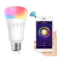 مصابيح LED ذكية للتحكم بالواي فاي مصابيح للاستخدام المنزلي مصابيح مجانية وتحكم صوتي متوافق مع Amazon Alexa و Google مساعد ، A19 LED ، 7 وات ، قابل للتعتيم ، لا يوجد محور مطلوب (متعدد الألوان)