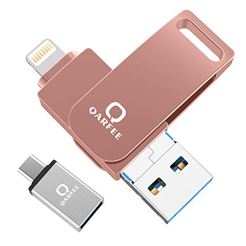 Qarfee USB Stick 32GB Für iPhone USB 3.0 Flash Drive USB Speicherstick Memory Stick kompatibel mit iPhone/iPad/USB/iOS/Micro USB/Type C Anschluss/Handy Tablet/PC Orangerosa Iphone-usb-anschluss