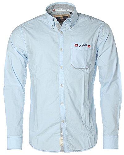 St. Moritz Herren Langarm Hemd Shirt Button-Down Alpine Ski World Cup Brilliant Blu.