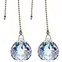 ColorMax magnifico cristallo 50mm sfera di cristallo trasparente Prism 2pezzi Dazzling cristallo ventilatore da soffitto pull Catene