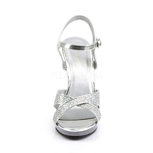 Fabulicious Riemchen-Sandaletten Flair-419G zehenoffen Open Toe Hochzeit Brautschuhe Straß Strass Silber