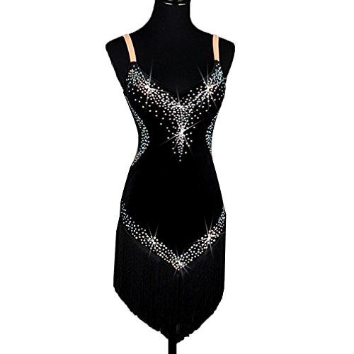 MoLiYanZi Professionel Latin Dance Performance Kostüm Für Frauen Samt Quaste Wettbewerb Kleid Schultergurte Mit Strass Cha Cha Tanzkostüm, Black, S