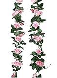 Homcomoda 2er Pack Künstliche Rosen Blumen Girlande mit künstlichen Ranken für Haus, Hotel, Hochzeit, Garten Dekoration(rosa)