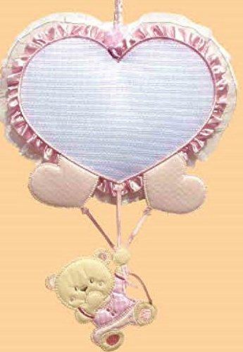 Fiocco nascita palloncino cuore 29x23 cm (rosa)