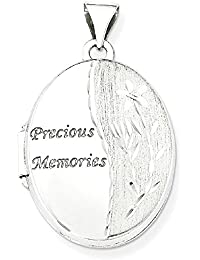 ICE CARATS 14k White Gold 21mm Oval Photo Pendant Charm Locket Chain Necklace That Holds Pictures Fine Jewelry Gift Valentine Day Set For Women Heart