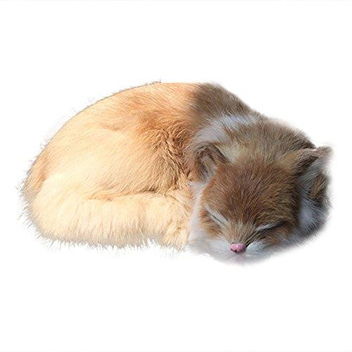 mAjglgE Schöne Tier-Imitation Katze Puppe Auto Home Dekoration Spielzeug Foto Requisite Weihnachten Geschenk - Schwarz gelb (Für Fotos Weihnachts-requisiten)