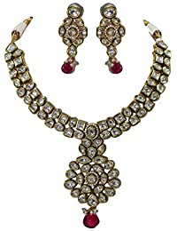 88a3988c8 Rajasthan Gems Handmade Crystal Polki Bridal Fashion Indian jadau vintage  necklace