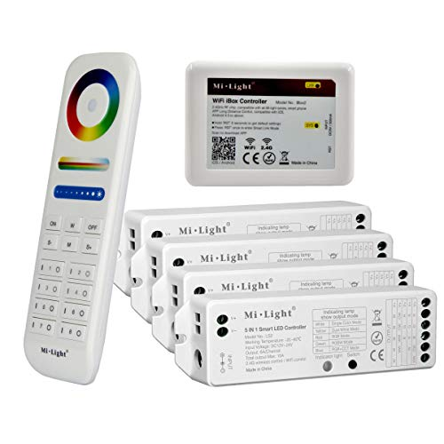 Serie Remote Gesteuert (LIGHTEU®, Milight Remote Control Kit: Packung mit 4x 5-in-1-Smart-LED-Strip-Controller und einer 8-Zonen-Fernbedienung mit 4x LS2 + FUT089 + ibox2)