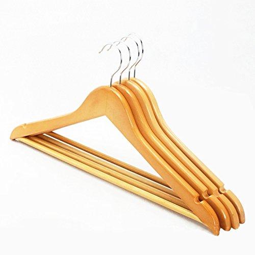 logei® 20 Stück Holz Kleiderbügel Holzbügel Garderobenbügel mit Hosenstange Rutschfest Natur gut Qualität (Holz-stücke)
