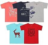 Elk Kids Boys Cotton Printed T-Shirts Pack of 5 Grey Blue Orange Red