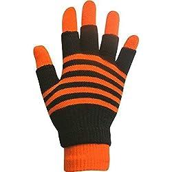 niños unisex Rayas de neón Magic 2 en 1 Guantes de invierno con guantes sin dedos (neón naranja) niño o niña