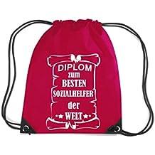 Camiseta stown Premium gymsac Diploma para mejores Social ayudante del Mundo, rojo