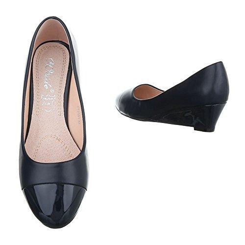 Ital-Design , chaussures compensées femme Dunkelblau XY2581