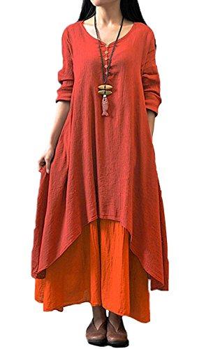 Minetom Damen Frühling Herbst V-Ausschnitt Leinen Kleid Maxikleid Langarm Doppel Layered lässig Vintage Abendkleid Partykleider ( Rot DE 44 (Flapper Mode Red Kleid)