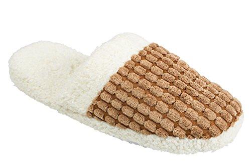 GIBRA® Herren Pantoffeln, warm gefüttert mit weißer Sohle, braun, Gr. 40/41 - 44/45 Braun