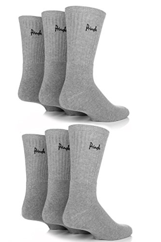 Mens 6 Pair Pringle Full Cushion Sports Socks - Grey 7-11
