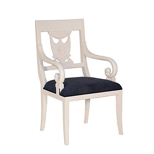 Armlehnenstuhl Mask Mahagoni weiß Landhausmöbel Stilmöbel Stuhl Lehnstuhl Esszimmerstuhl Küchenstuhl