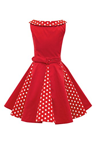 BlackButterfly Kinder 'Alexia' Vintage Polka-Dots Kleid im 50er-J-Stil (Rot, 5-6 J / 110-116)