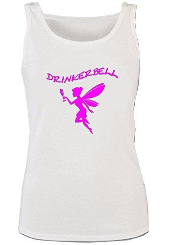 Drinkerbell | TRINKERBELL | Fee |Sprücheshirt | Funshirt | Mädchen, Damen, Ladys, Girly Tank Top | Funshirt | Sprücheshirt | Schwarz, Weiss | XS-XL (M, Weiss)