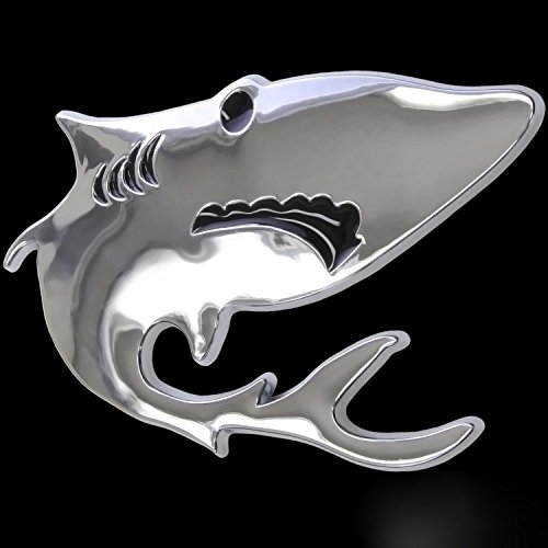 3D Chrom Emblem Aufkleber Logo Hai Fisch Angler Taucher Diver L125