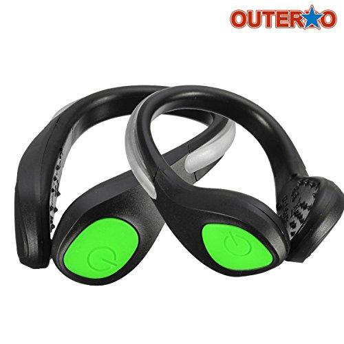 2x LED Schuhclip OUTERDO Outdoor Nacht Sicherheit Warnung Joggen Sport Fahrrad Flashing Reflektierende Schuh-Licht