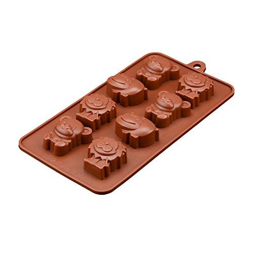 OUNONA Schokoladen Süßigkeits Form Antihaft freie Silikon Backformen Tierform handgemachte Seifen Formen Kuchen Pan Muffin Schalen Eiswürfel Behälter DIY Form (Kaffee) Bundt Muffin Pan