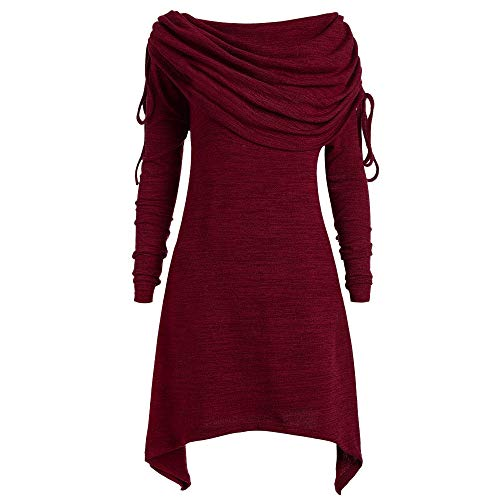 reizeit Dress Große Größe Foldover Collar, Frauen Mode Solid Verroschte Lange Tunic Top Bluse Tops Blusekleid Mini Dress(5XL, Y-Rot) ()