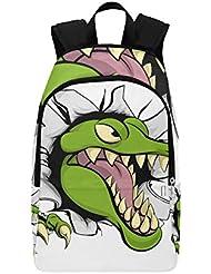 98193ecd5d516 Cruel Cartoon Crocodile Casual Zaino da viaggio Daypack Zaino scuola  college per uomo e donna