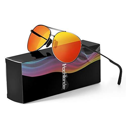Polarisierte Sonnenbrille für Herren Damen retro Polarisiert Fahrradbrille Aviator Stil Pilotenbrille klassische Fliegerbrille mit Federscharnier UV 400 Schutz Al-Mg Metallrahme Ultra leicht (Orange)