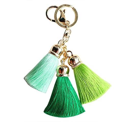 Ouneed® Schlüsselanhänger ,Ice Silk Tassel Pom Pom Auto Keychain Handtasche Schlüsselanhänger