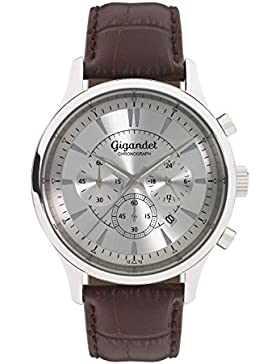 Gigandet Quarz Herren-Armbanduhr Brilliance Chronograph Uhr Datum Analog Lederarmband Silber Braun G48-001