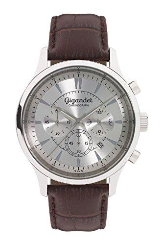 Gigandet Herren-Armbanduhr Sport Chronograph Quarz mit Leder braun G48-001