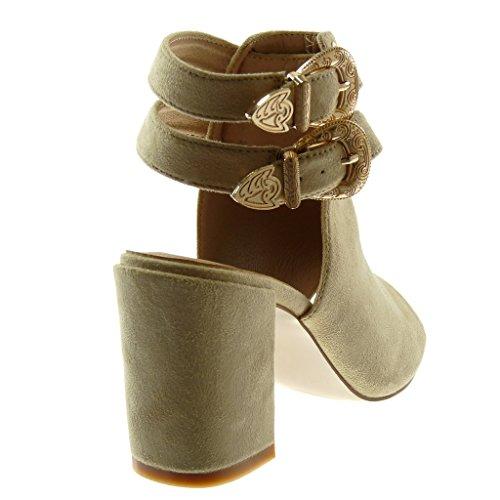 Angkorly Shoes Moda Botines Zapatos Sandalias Abiertas Peep-toe Mujeres Thong Multi-bridle Hebilla High Block Heel 8.5 Cm Beige