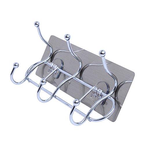 Selbstklebend Garderobe Edelstahl Hat Haken Coat Rack 6Haken Metall Hänger Closet Handtücher Rack Badezimmer Bademantel Halter Garage Küche Bad Home Kleidung Rack (Storage Coat-rack)