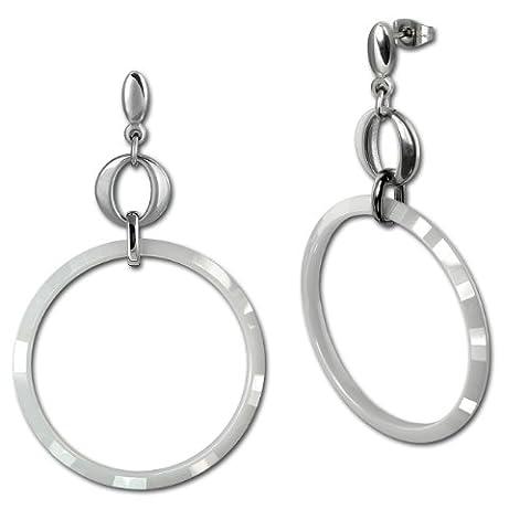 Amello bijoux en acier inoxydable - Amello boucles d'oreilles en céramique circle blanc - boucles d'oreilles en acier inoxydable pour femmes - ESOX14W