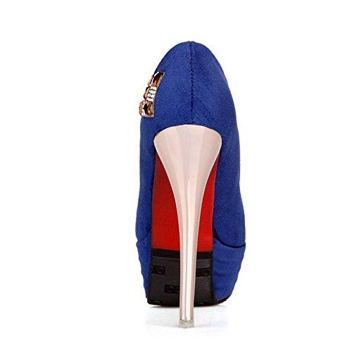 AllhqFashion Femme Tire Rond à Talon Haut Suédé Couleur Unie Chaussures Légeres Bleu