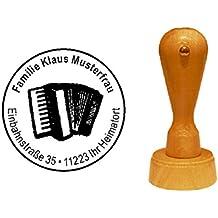 Musik Instrument mit pers/önlicher Adresse Stempel Adressstempel /« HARFE /» Durchmesser ca Motiv und Zierrand /Ø 40 mm